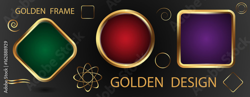Set Gold Frames With Green Purple And Red Background And Golden