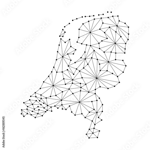 Photo Netherlands map of polygonal mosaic lines network, rays and dots of vector illustration