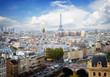 skyline of Paris city with blue sky, France, retro toned