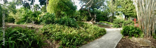 Panoramic View Of A Pebble Path Inside The Miami Beach Botanical Garden In  Florida (United