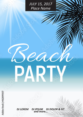Summer Night Beach Party Poster. Tropical Natural Background  wi © olegganko