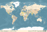 Vintage World Map and Markers - Vector Illustration - 162903521