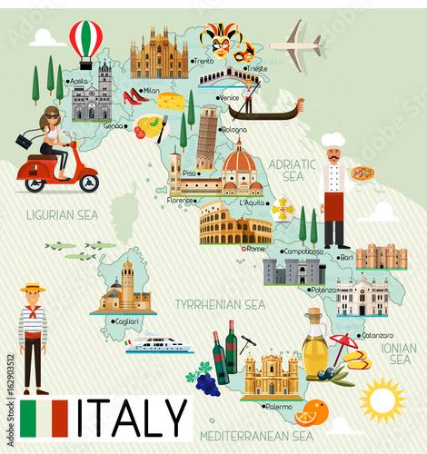 Fotografie, Tablou  Italy Travel Map.