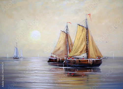 City on the water Oil paintings sea landscape, ships, boat, fishermen