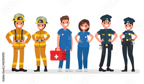 Foto Police, fire and ambulance
