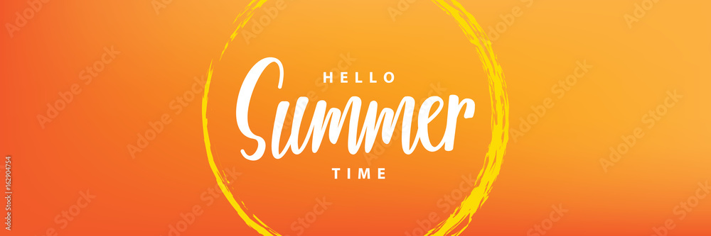 Fototapety, obrazy: Hello summer time heading design for banner or poster. Summer event concept. Vector illustration.