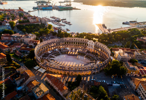 Slika na platnu Pula Arena at sunset - HDR aerial view taken by a professional drone