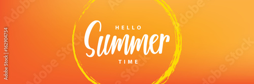 Photo  Hello summer time heading design for banner or poster