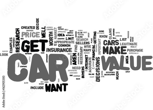Valokuva  WHAT CAN I DO TO GET AN ACCURATE CAR VALUE TEXT WORD CLOUD CONCEPT