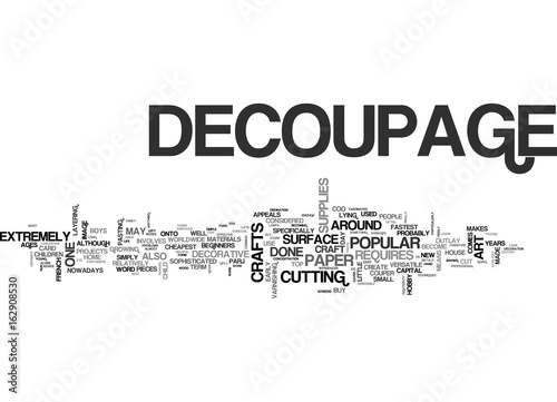 Fotografie, Obraz  WHAT IS DECOUPAGE TEXT WORD CLOUD CONCEPT