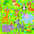 Seamless animal pattern stars birthday cone on green