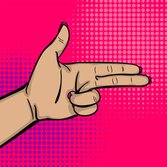 Pop art comic text cartoon cool woman knuckle hand show bang gun finger. Human girl wow ok, good poster halftone dot background. Gesture advertisement arm message. Bright color illustration.