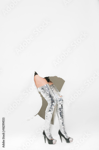 The girl breaks through the wall Wallpaper Mural