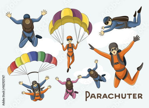 Obraz na plátně Vector set of parachuter
