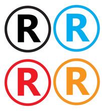 Set Registered Trademark Icon On White Background. Registered Trademark Sign.