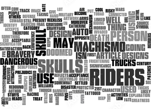 Photo WHY ARE SKULLS LINKED TO RIDERS TEXT WORD CLOUD CONCEPT