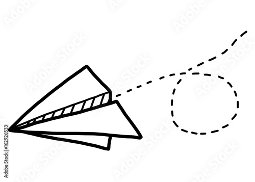 Paper Airplane Cartoon Vector And Illustration Black And White