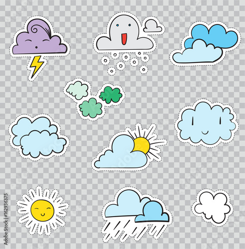 Patch Badges with Weather Conditions and Clouds  Vector illustration