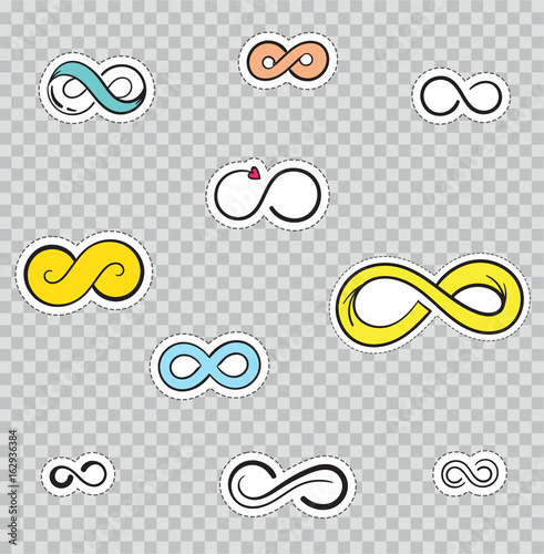 Foto op Aluminium Retro sign Patch Badges with Infinity Symbol. Vector illustration isolated on transparent background. Set Pack of stickers, pins, patches in cartoon 80's - 90's comic style.