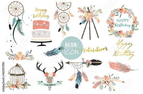 Photo  Cartoon icon collection with wreath,feather,flower,cage,wild and arrow