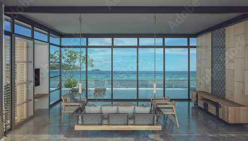 Foto op Aluminium Luchthaven living room of beach house