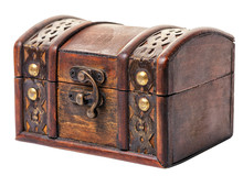 Beautiful Closed Vintage Wooden Chest Treasure Isolated On White Background, Close Up