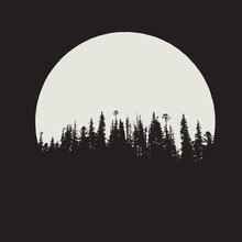 Forest Silhouette On Moon Back...
