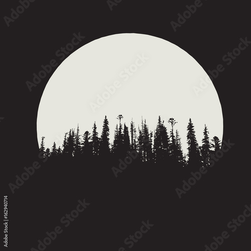 Fototapety, obrazy: forest silhouette on moon background