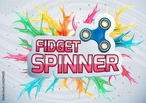 Printed kitchen splashbacks Banner with the word fidget spinner.