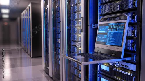 Fotomural Rackmount LED console in server room data center - 3d illustration