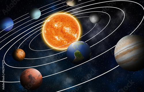 Fototapety, obrazy: Solar system model, Elements of this image furnished by NASA
