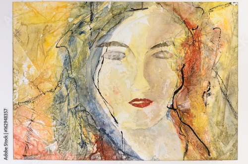 Fototapety, obrazy: Modern watercolor portrait of a young woman