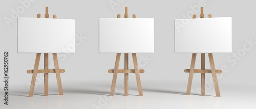 Wooden Brown Sienna Easel with Mock Up Empty Blank Canvas Isolated on Background Wallpaper Mural