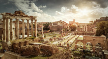 Panoramic View Of Roman Forum, Rome, Italy. History And Travel Concept.