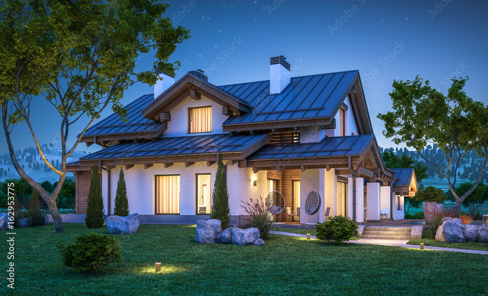 Fototapety, obrazy: 3d rendering of modern cozy house in chalet style