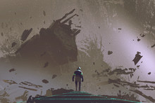 Sci-fi Scene Showing The Astronaut Walking On Light Path In Dead Earth, Digital Art Style, Illustration Painting