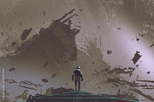 scena science fiction przedstawiająca astronautę idącego ścieżką światła w martwej ziemi, styl sztuki cyfrowej, malarstwo ilustracyjne