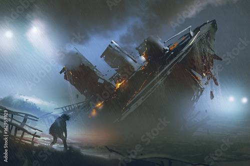 Foto op Aluminium Grandfailure scene of man escape a sinking ship in rainy night, digital art style, illustration painting