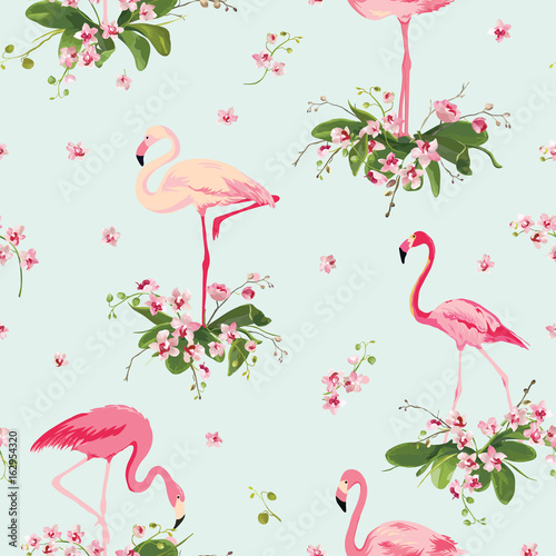Canvas Prints Flamingo Bird Flamingo Bird and Tropical Orchid Flowers Background. Retro Seamless Pattern in vector