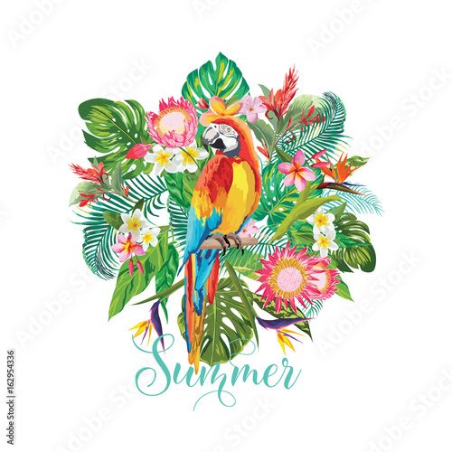 Fotobehang Papegaai Tropical Flowers and Parrot Bird Background. Summer Design. Vector. T-shirt Fashion Graphic. Exotic.