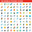 100 mobile phone icons set, isometric 3d style