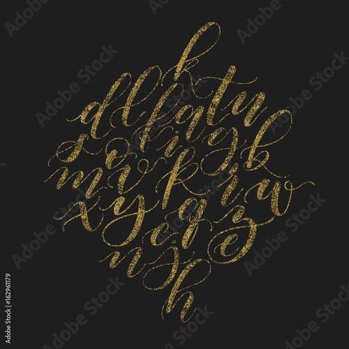 Handwritten beautiful elegant vector golden glitter calligraphy handwritten beautiful elegant vector golden glitter calligraphy alphabet bush font lower cases cursive script on altavistaventures Gallery