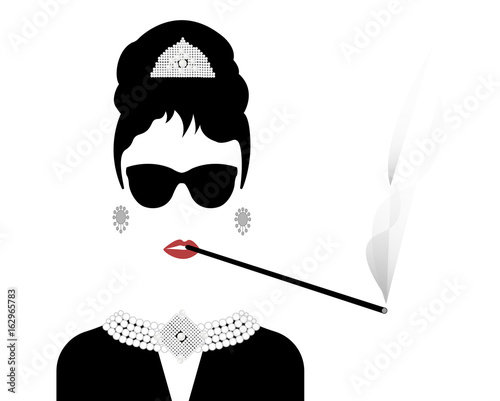 Fotografie, Tablou  portrait retrò woman, diva with cigarette holder and Pearl jewelry , minimal Aud
