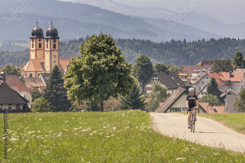 Mountain biker riding on road by green field Poster