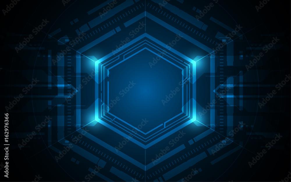 Fototapety, obrazy: hexagon futuristic sci fi pattern design background innovation concept