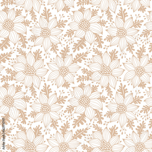 Beige seamless floral vector pattern