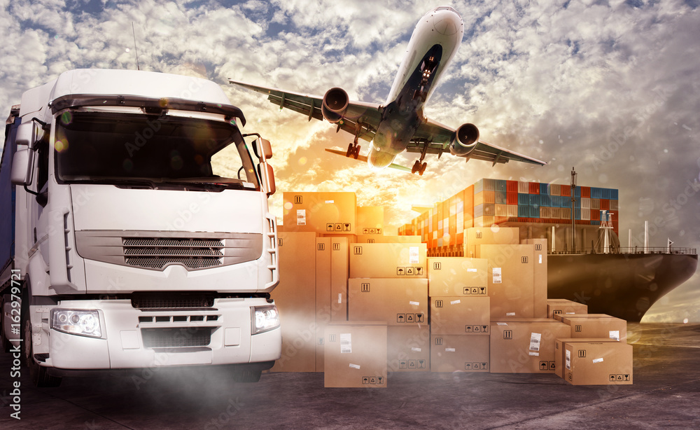 Fototapety, obrazy: Truck, aircraft and cargo ship ready to start to deliver