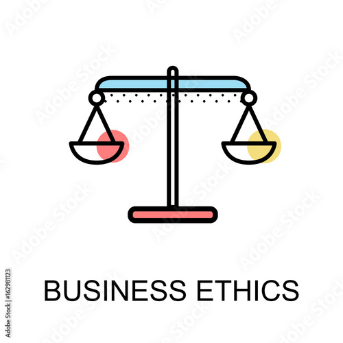 Business ethics icon with scales symbol on white background illustration design.vector