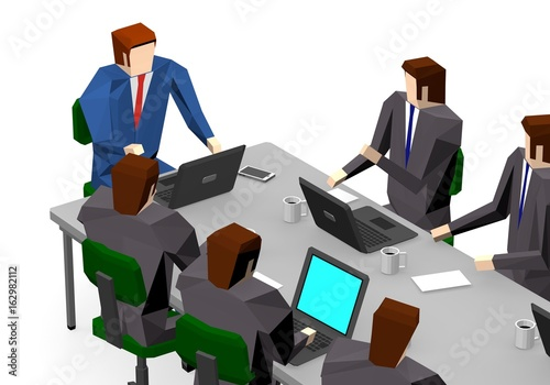 Business people meeting discussing office desk Poster