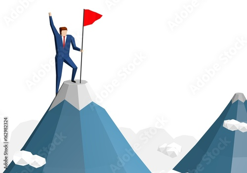 Fényképezés  Businessman with flag on mountain top